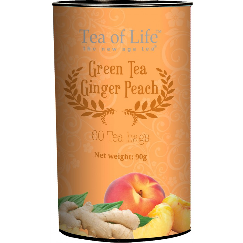 Zelený čaj Tea Of Life GINGER PEACH 60 sáčků x 1,5g